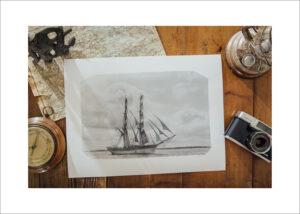 Retro bord med sjökort barometer sjöman oljelampa analog kamera Fotograf Henrik Mill Fine Art Print