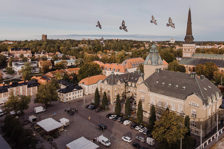 Stora Torget i Västerås Stadshotellet drönare flygfoto drone Sweden Sverige